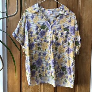 Floral/striped LuLaRoe dolman Amy shirt, sz small
